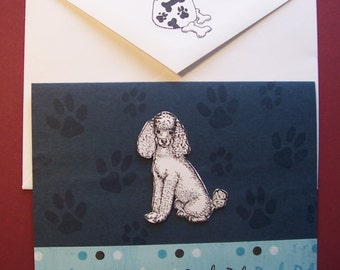 POODLE dog note cards card gift hand crafted 5 pack rescue group