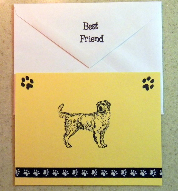Golden RETRIEVER dog note cards card gift hand crafted 5 pack rescue group