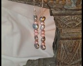 Pink and gray pearl and sterling silver earrings