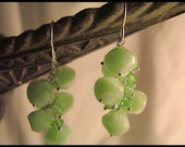 Sterling silver, green Czech glass and green Swarovski crystal earrings