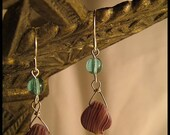 Sterling silver and purple and green glass bead earrings