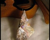 RESERVED FOR KATHLEEN - Sterling silver wire-wrapped ribbon agate pendant with Swarovski crystals