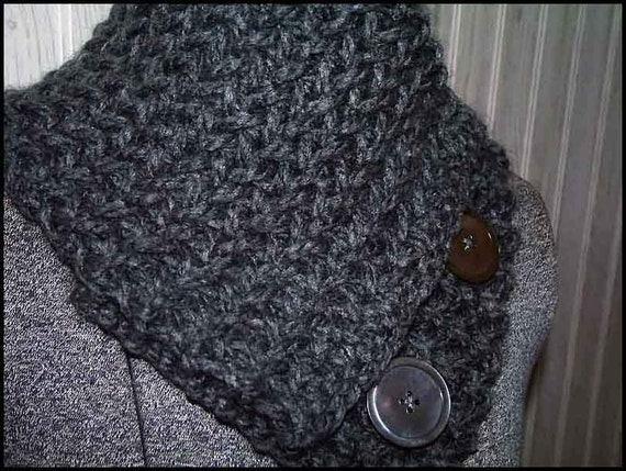 Charcoal gray scarflette/neck warmer, knitted