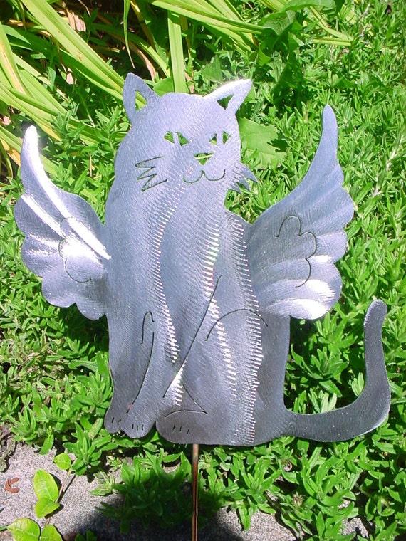 Angel cat kitty feline metal lawn ornament outdoor decor steel for Cat yard art
