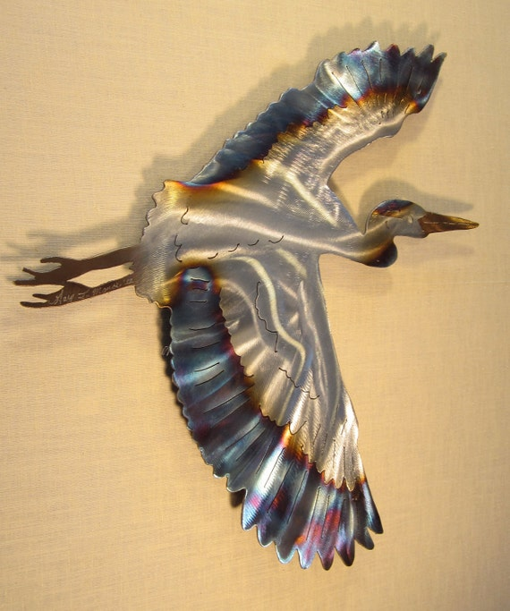Great Blue Heron Crane Coast Coastal Steel By