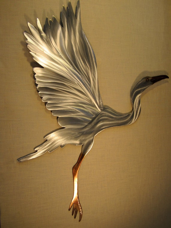 Snowy Egret Heron Crane Coastal Steel Decor Marine Marsh