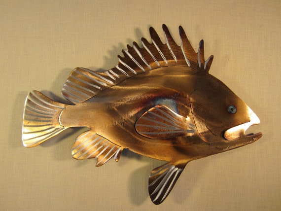 Rockfish red rock fish deep sea bass fishing fishing fisherman for Fish metal wall art