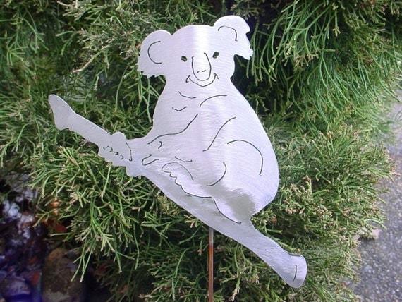 Koala Bear Australia Metal Steel Yard Art Garden Plant Stake Lawn Spike Outdoor Ornament Decor
