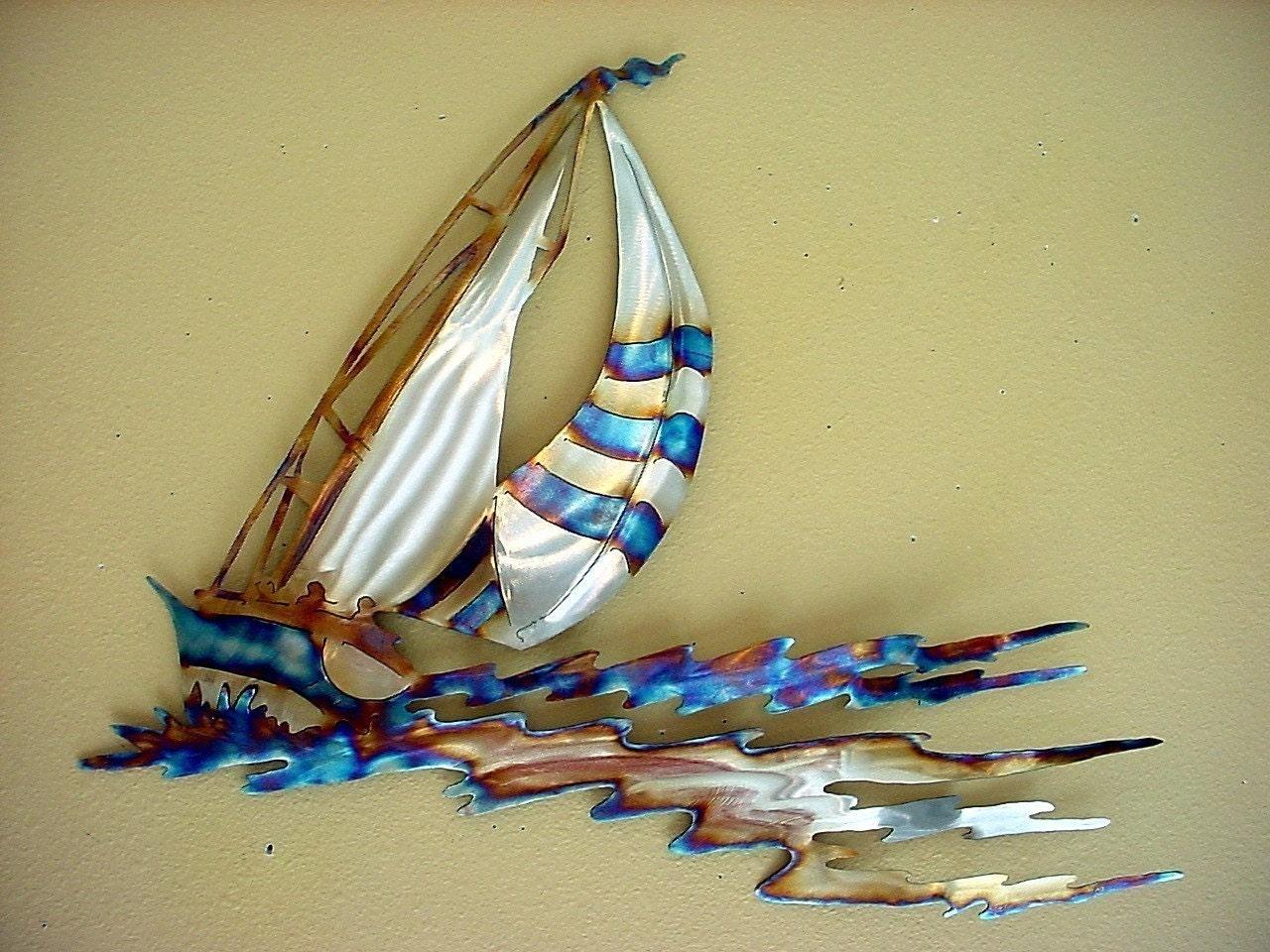 Metal Wall Decor Sailboats : Sailboat racing sailor sailing stainless steel metal wall art
