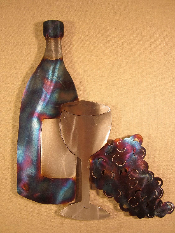 wein flasche glas trauben stahl metall wand kunst keller pinot. Black Bedroom Furniture Sets. Home Design Ideas