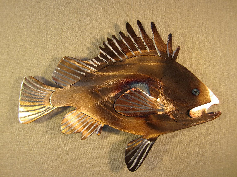 Rockfish red rock fish deep sea bass fishing fishing fisherman for Metal fish art wall decor