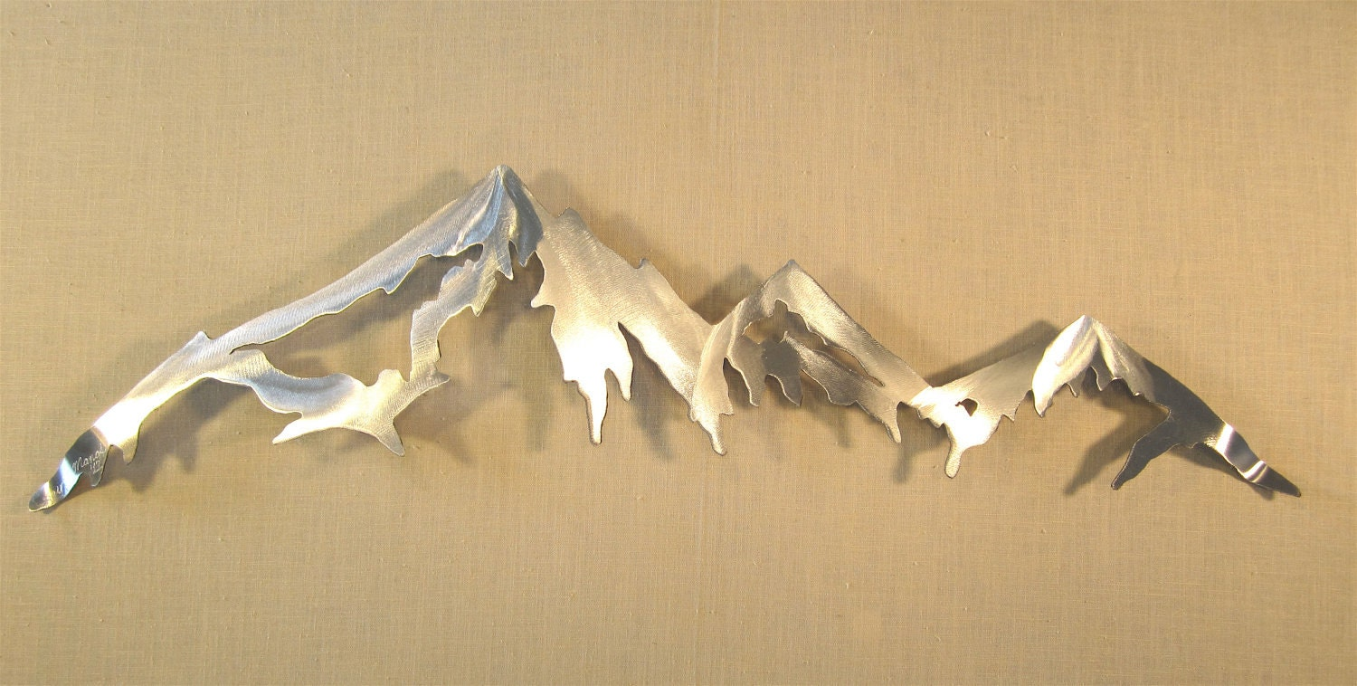Outdoor Cabin Wall Decor : Mountain range cascade mountains metal wall art home decor log