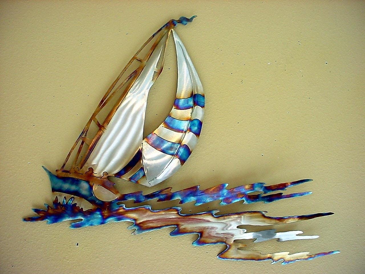 Sailboat sailor sailing stainless steel metal wall art open for Stainless steel wall art