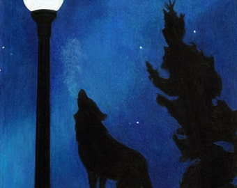 Coyote and streetlamp giclee print