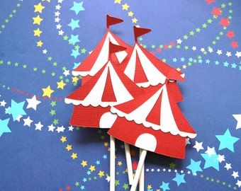 Circus Tent cupcake toppers