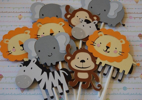 Safari Animals Cake Safari Animal Cupcake Toppers