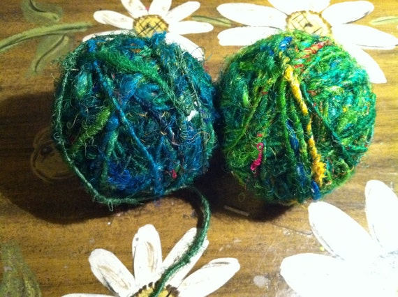 2 Skeins of pre-balled upcycled yarn approx 200g, 100 yards