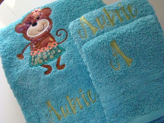 Hula Monkey Applique Monogrammed 3 piece Custom Bath Towel Set You Choose Color
