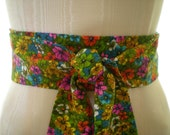 Obi Belt in Bright Flower Power Print Multi - Colored Textured Cotton Vintage Fabric - PICK YOUR SIZE - last one