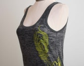 Blythe Black Burnout Tank Size Large - Peacock Design by ccdoodle on etsy
