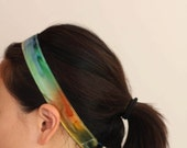SALE The Skinny Headband in a Hand Dyed Rainbow Colored Cotton Fabric - ready to ship