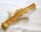 Sale Skinny Headband in a Bright Yellow and Orange Floral Print Cotton Vintage Fabric - ready to ship