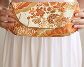 Clutch Purse in Cream, Peach, Orange, and Gold Japanese Obi Vintage Fabric Size Large cc023 - ready to ship