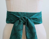 Sale Obi Belt in High Quality Emerald Green and Black Textured Flower Print Fabric - ready to ship - last one