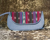 SALE Ikat Wristlet Purse in Blue Maroon Purple Teal White and Black Vintage Fabric Size Medium cc003 - ready to ship
