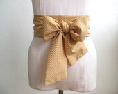 Polka Dot Obi Belt in Tan and White Cotton Vintage Fabric - made to order - last one