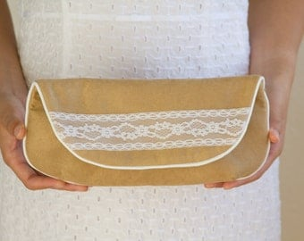 SALE Clutch Purse in Nude Beige Ultra Suede Off White Vintage Lace Size Large cc037 - ready to ship