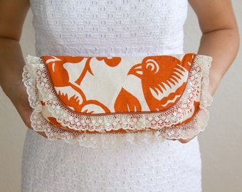 SALE Thomas Paul Bird Print Clutch Purse with Vintage Lace Piping Size Large cc040 -  ready to ship