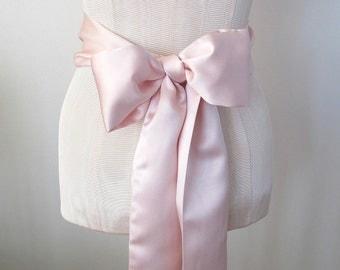 Pink Satin Sash, Wedding Sash, Bridesmaid Sashes, Bow Belt by ccdoodle on etsy