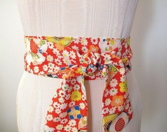 Japanese Kimono Obi Belt Silk Blend Sash in Red Multi Color Floral Print - made to order