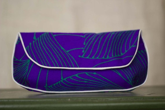 SALE Clutch Purse in Purple and Green Retro Print Vintage Fabric - Size Large cc015 - ready to ship