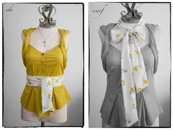 SALE Obi Wrapped Belt and Scarf in Ivory, Mustard Yellow, Baby Blue, and Grey Flower Print Vintage Fabric - made to order