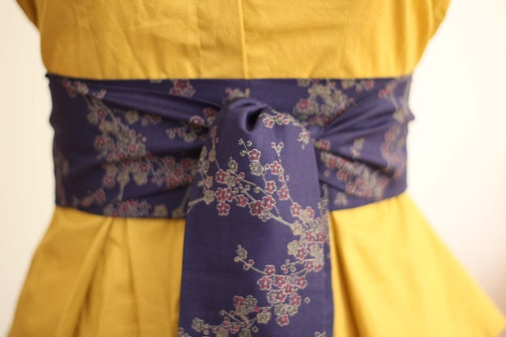 Reserved Custom Order for Jenny Obi Belt in Navy Blue Cherry Blossom Print Cotton Fabric - made to order - very last one