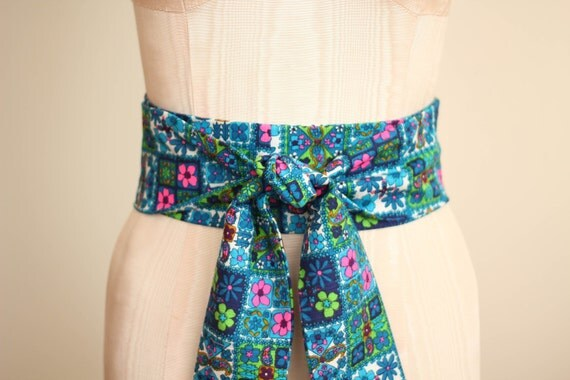 SALE Obi Belt in a Blue Turquoise Teal White Multi Colored Hawaiian Flower Print Vintage Cotton Fabric by ccdoodle on etsy - ready to ship