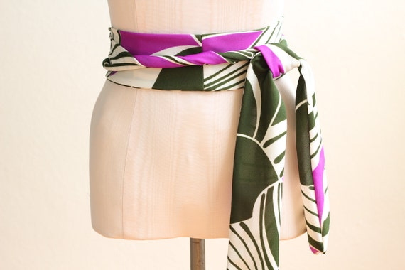 Obi Belt in an Olive Green, Violet, and Ivory Abstract Print Vintage Fabric - made to order - last one
