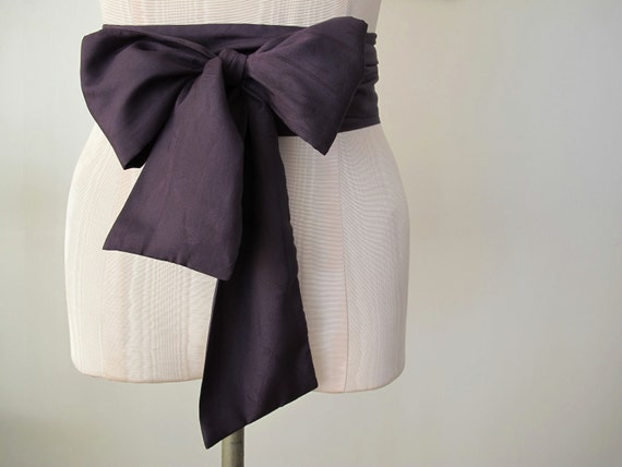 Obi Belt in Dark Plum Eggplant Purple Japanese Silk Blend Vintage Fabric by ccdoodle on etsy - made to order - last one