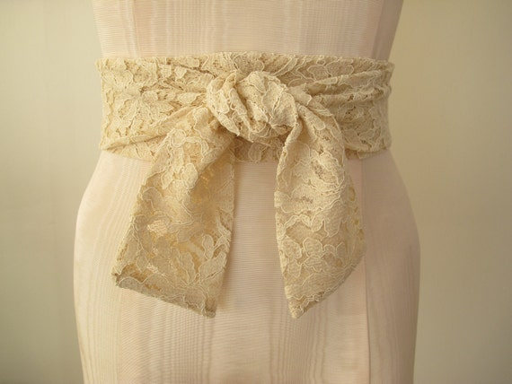 High Quality Vintage Lace Sash Natural Nude Beige Ecru by ccdoodle on etsy - made to order - last one