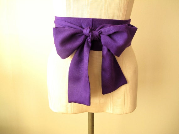 Purple Violet Obi Sash Belt in an Acrylic Vintage Fabric by ccdoodle - made to order - last one