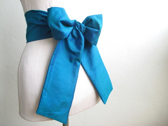 Sash Belt in Royal Blue and Emerald Green Deep Jeweled Teal Irridescent Silk Fabric - ready to ship