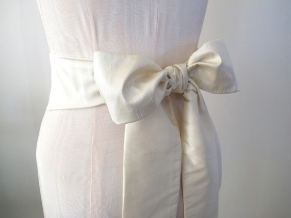 Reserved for Nicola Dupioni Silk Sash in Oyster Ivory Cream by ccdoodle on etsy - shorter length - made to order