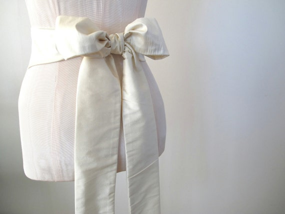 Reserved for Jolene Dupioni Silk Sash in Ivory Oyster Cream by ccdoodle on etsy - custom length - made to order