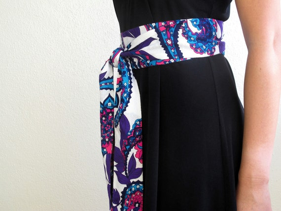 Waist Tie Obi Belt Purple Teal Pink Paisley Print Retro Bohemian by ccdoodle on etsy - made to order
