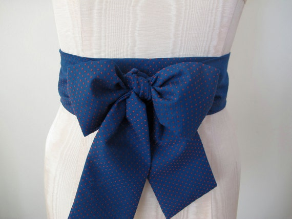 Navy Blue and Red Obi Belt in Swiss Dots Vintage Fabric MANY COLORS AVAILABLE by ccdoodle on etsy - made to order