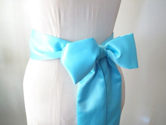 Tiffany Blue Wedding Sash Satin Sash Bow Belt - by ccdoodle on etsy - made to order