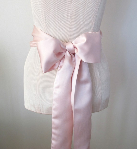 Pink Satin Sash, Wedding Sash, Bridesmaid Sashes, Bow Belt by ccdoodle on etsy