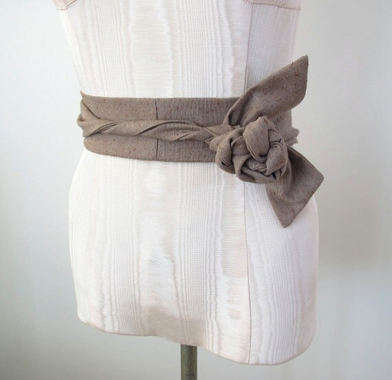 Brown Obi Belt in Nubby Textured Cotton Vintage Fabric  by ccdoodle on etsy - made to order